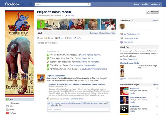 new business facebook page layout