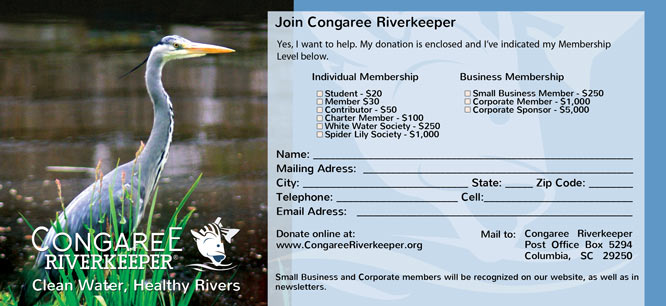 Congaree Riverkeeper design for rack card BACK