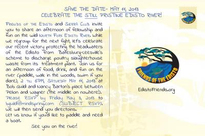 post card design for Friends of the Edisto - Smoke on the Water - Back