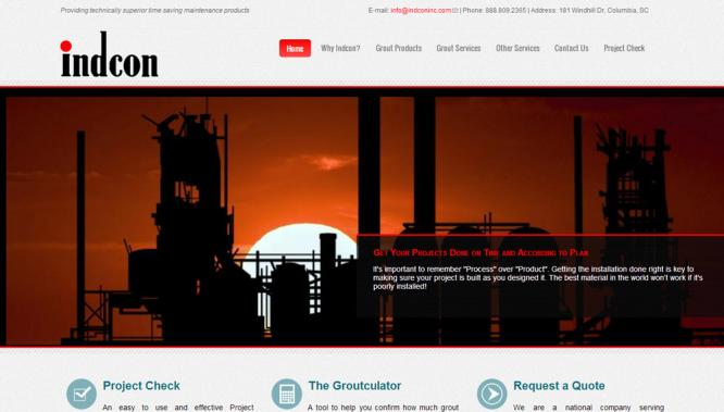 Indcon Inc Website Home Page