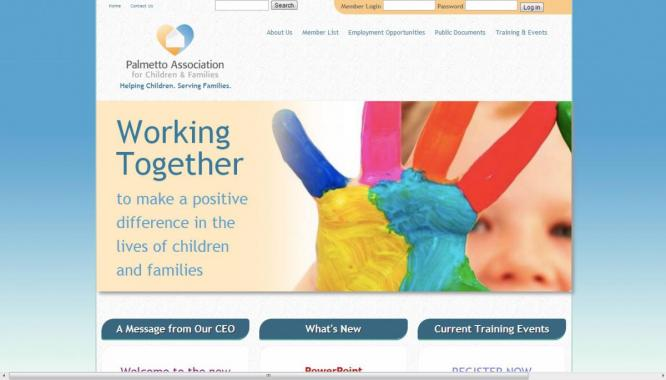The Palmetto Assocation for Children and Families (PAFCAF) web design